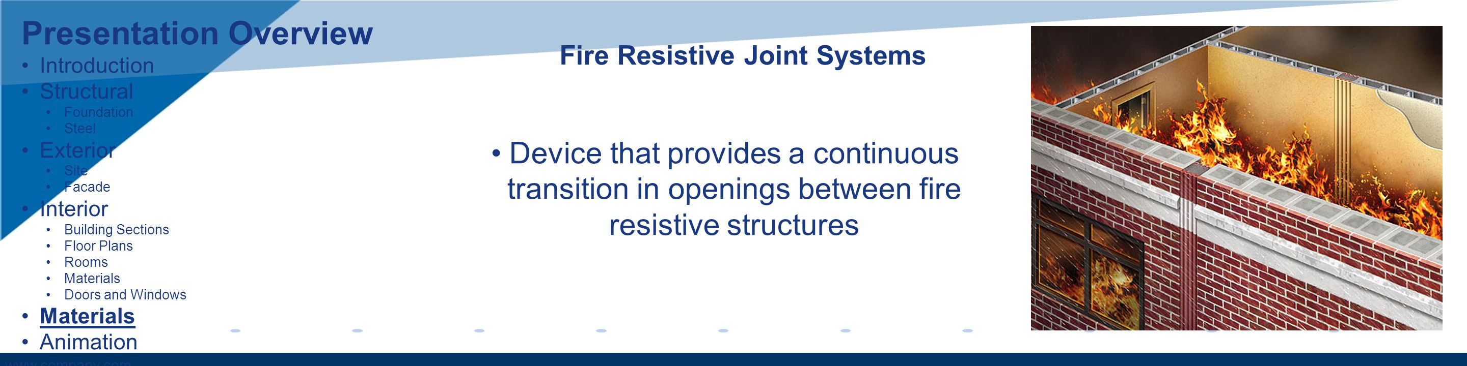 www.company.com Fire Resistive Joint Systems Device that provides a continuous transition in openings between fire resistive structures Presentation O