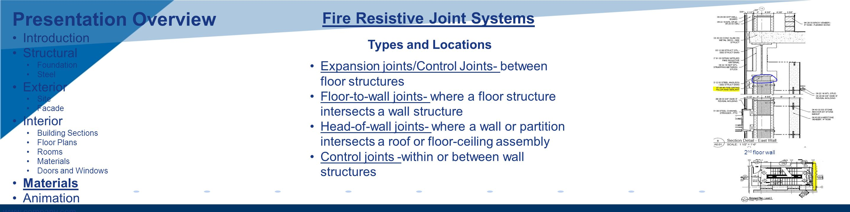 www.company.com Fire Resistive Joint Systems Expansion joints/Control Joints- between floor structures Floor-to-wall joints- where a floor structure i