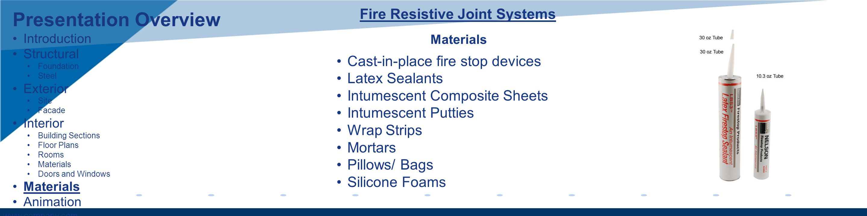 www.company.com Materials Cast-in-place fire stop devices Latex Sealants Intumescent Composite Sheets Intumescent Putties Wrap Strips Mortars Pillows/ Bags Silicone Foams Fire Resistive Joint Systems Presentation Overview Introduction Structural Foundation Steel Exterior Site Facade Interior Building Sections Floor Plans Rooms Materials Doors and Windows Materials Animation