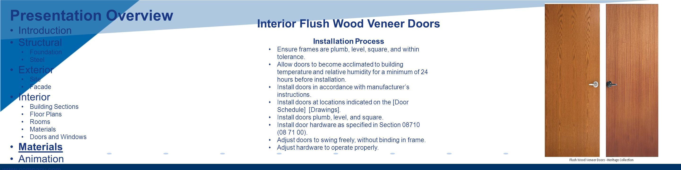 www.company.com Interior Flush Wood Veneer Doors Installation Process Ensure frames are plumb, level, square, and within tolerance. Allow doors to bec
