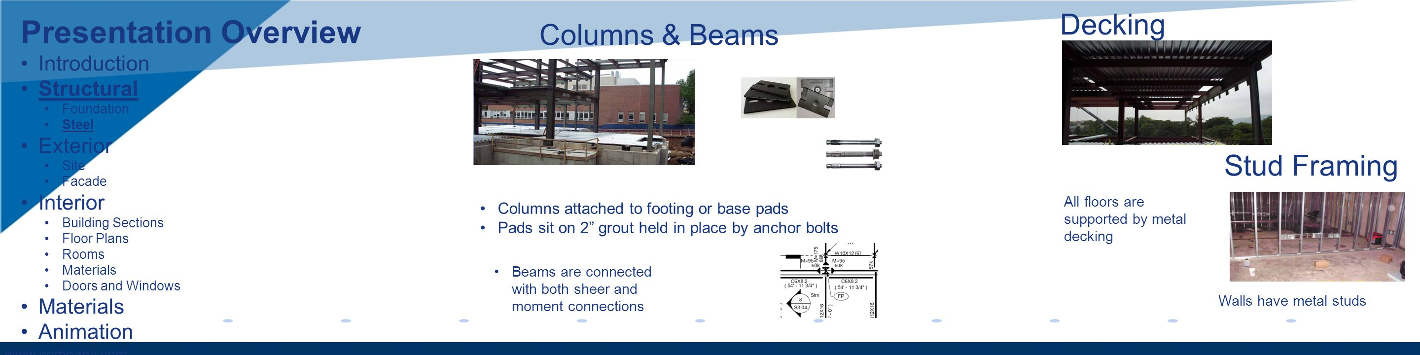www.company.com Columns & Beams Columns attached to footing or base pads Pads sit on 2 grout held in place by anchor bolts Beams are connected with both sheer and moment connections Decking Stud Framing All floors are supported by metal decking Walls have metal studs Presentation Overview Introduction Structural Foundation Steel Exterior Site Facade Interior Building Sections Floor Plans Rooms Materials Doors and Windows Materials Animation