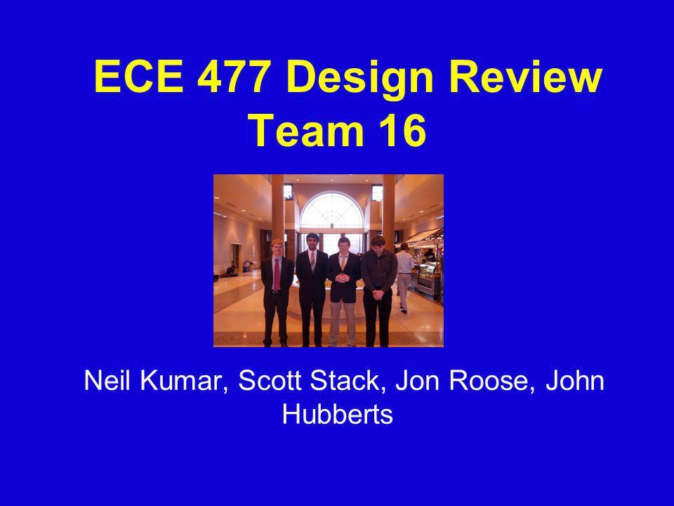 ECE 477 Design Review Team 16 Neil Kumar, Scott Stack, Jon Roose, John Hubberts