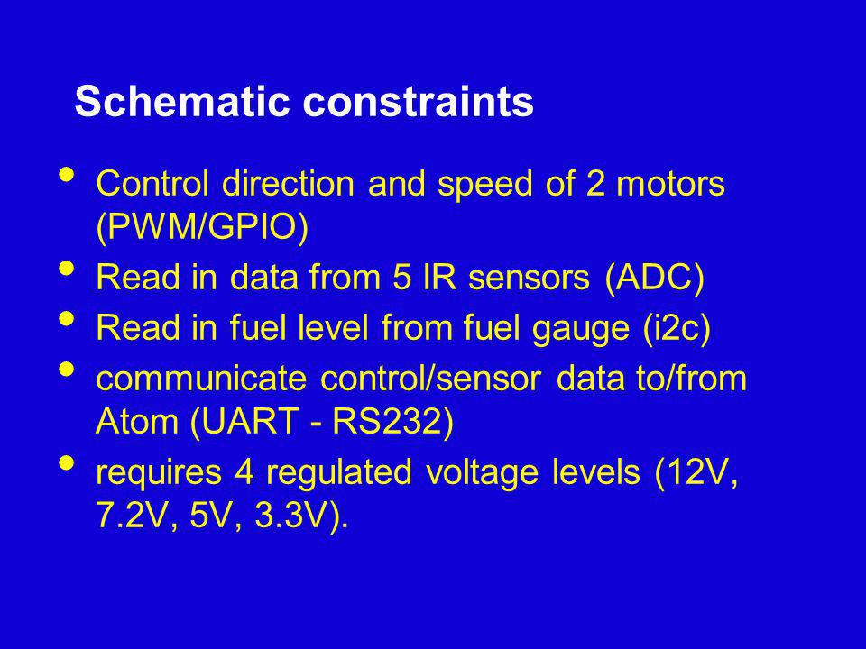 Schematic constraints Control direction and speed of 2 motors (PWM/GPIO) Read in data from 5 IR sensors (ADC) Read in fuel level from fuel gauge (i2c)