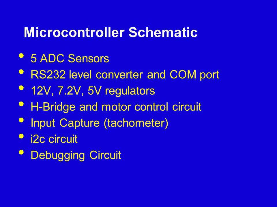 Microcontroller Schematic 5 ADC Sensors RS232 level converter and COM port 12V, 7.2V, 5V regulators H-Bridge and motor control circuit Input Capture (