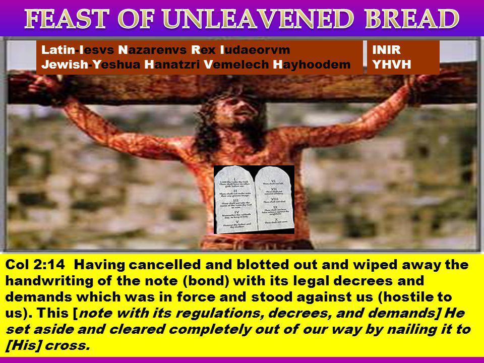 INIR YHVH Latin-Iesvs Nazarenvs Rex Iudaeorvm Jewish-Yeshua Hanatzri Vemelech Hayhoodem Col 2:14 Having cancelled and blotted out and wiped away the h