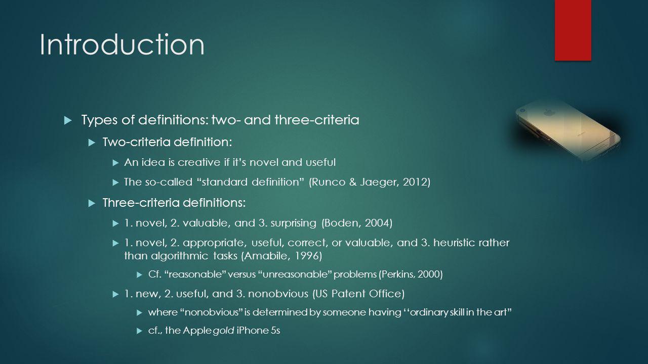 Introduction Questions regarding foregoing definitions: Qualitative versus quantitative criteria.