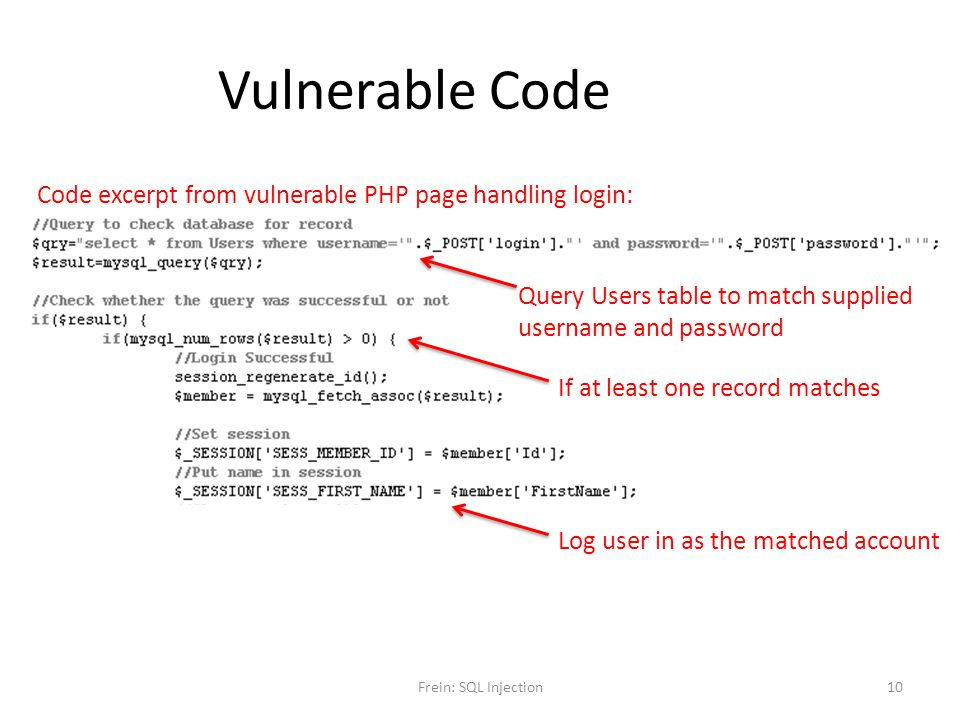 Vulnerable Code Code excerpt from vulnerable PHP page handling login: Query Users table to match supplied username and password If at least one record
