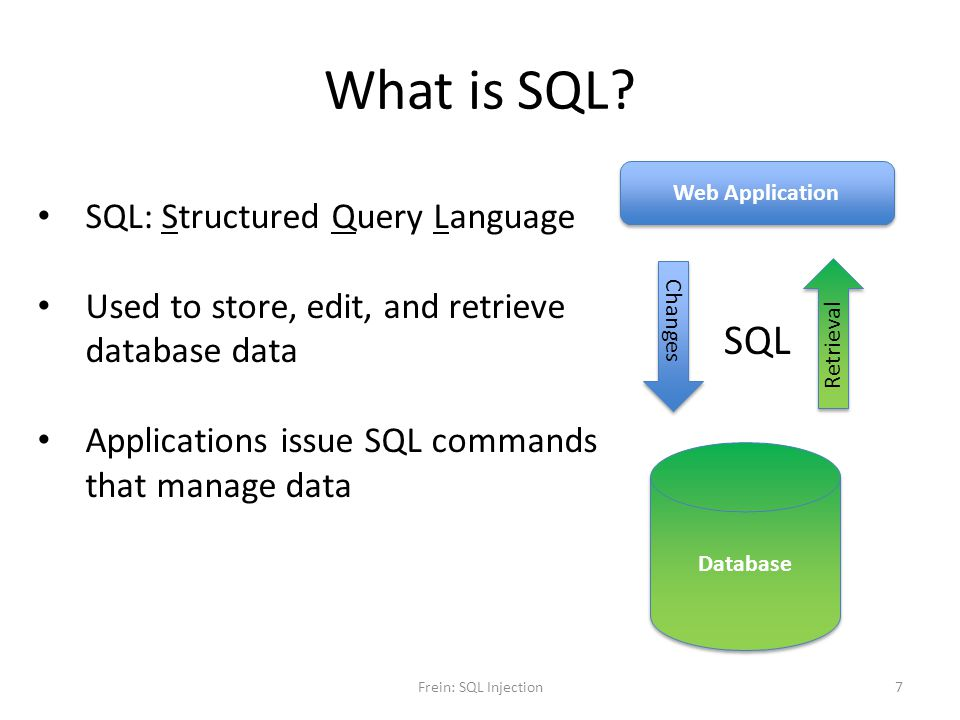 What is SQL? Web Application Database SQL SQL: Structured Query Language Used to store, edit, and retrieve database data Applications issue SQL comman