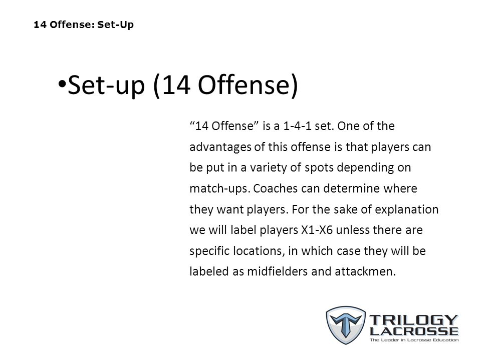 14 Offense: Set-Up 14 Offense is a 1-4-1 set. One of the advantages of this offense is that players can be put in a variety of spots depending on matc
