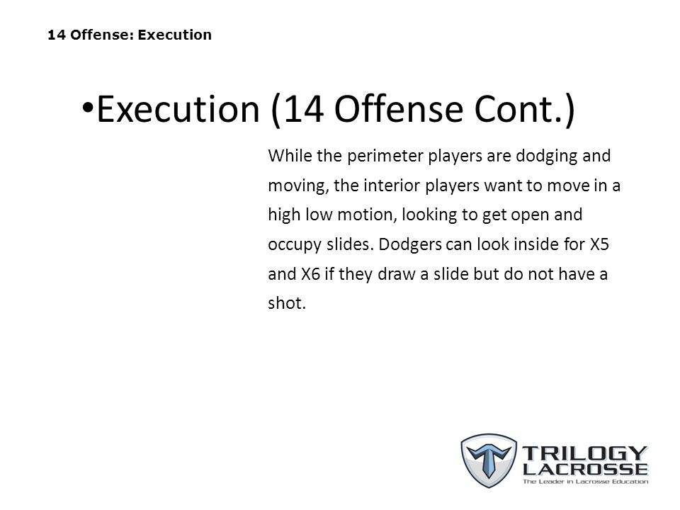 14 Offense: Execution While the perimeter players are dodging and moving, the interior players want to move in a high low motion, looking to get open