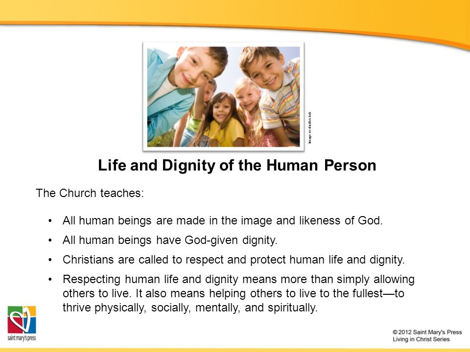Life and Dignity of the Human Person Image in shutterstock The Church teaches: All human beings are made in the image and likeness of God. All human b