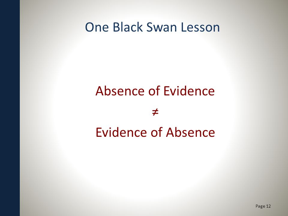 One Black Swan Lesson Absence of Evidence Evidence of Absence Page 12