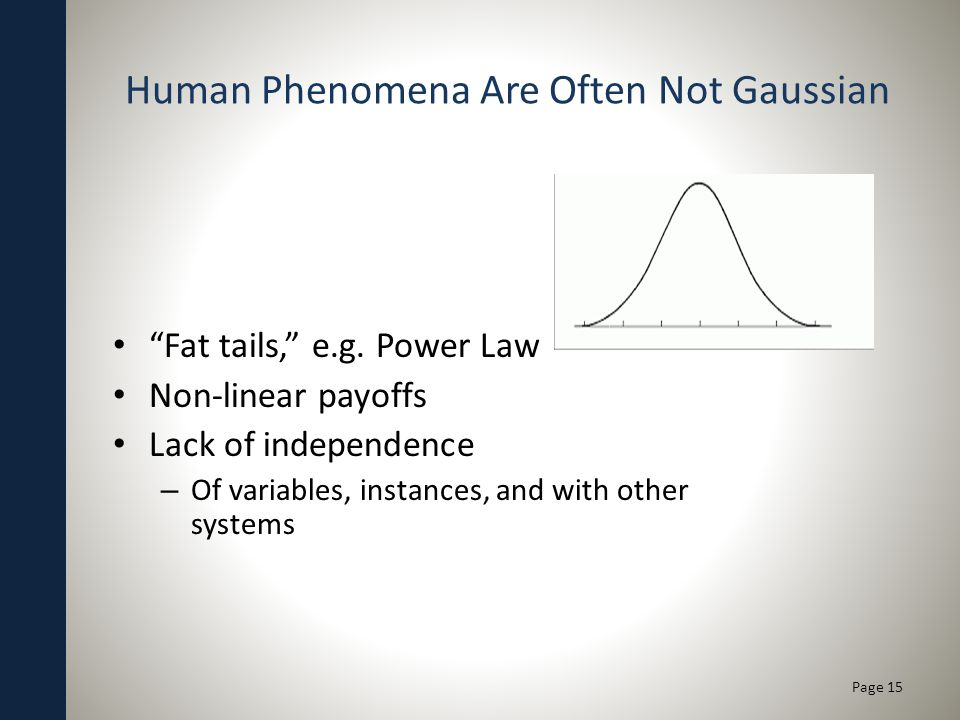 Human Phenomena Are Often Not Gaussian Fat tails, e.g.