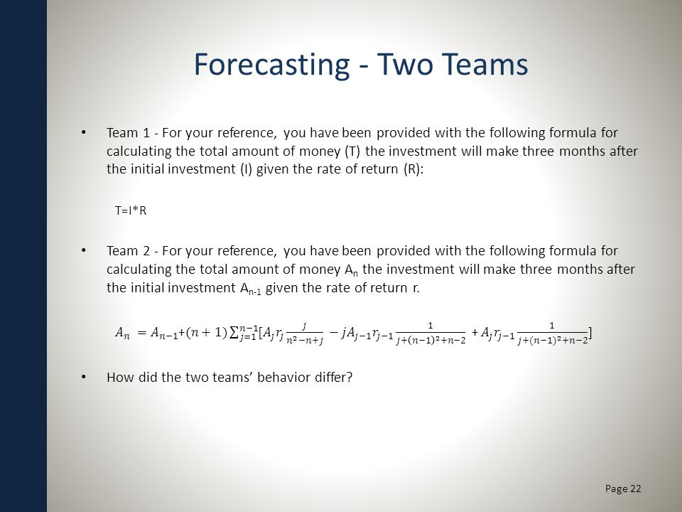 Forecasting - Two Teams Page 22
