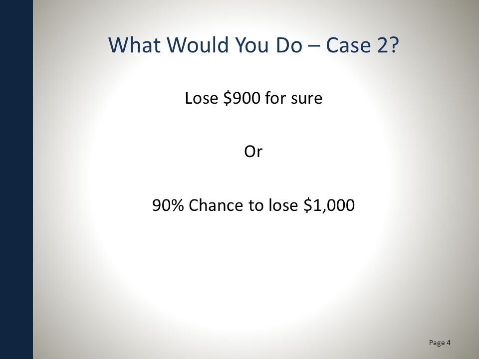 What Would You Do – Case 2? Lose $900 for sure Or 90% Chance to lose $1,000 Page 4