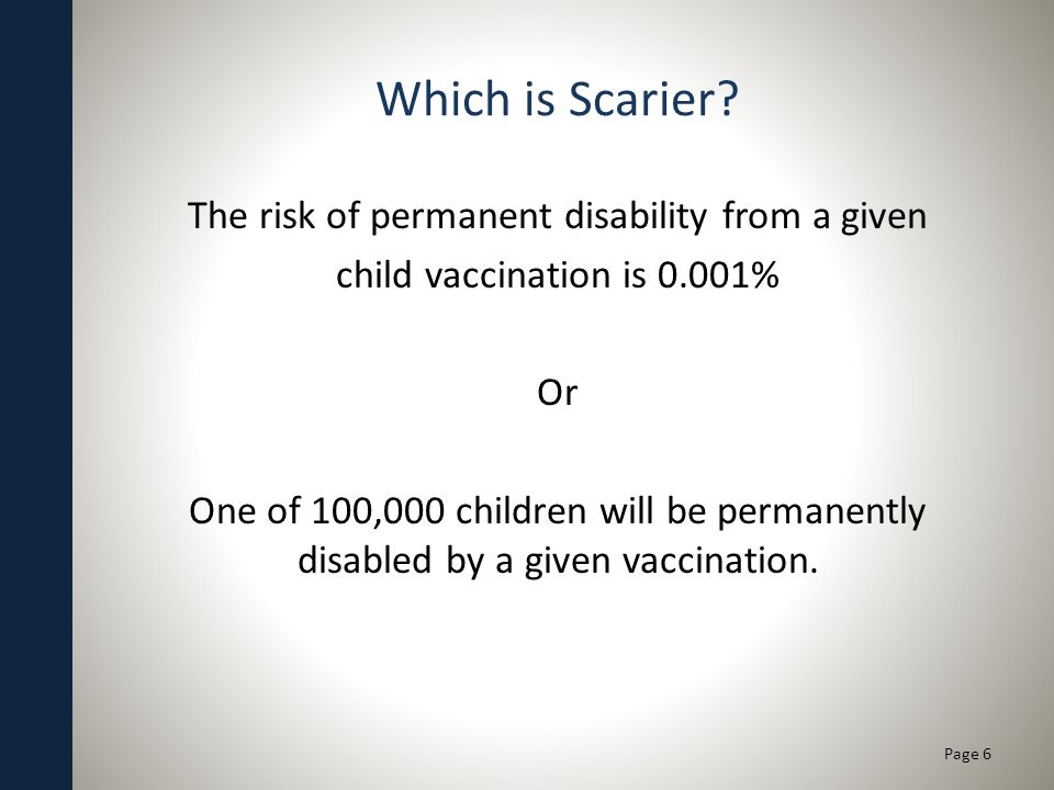 Which is Scarier? The risk of permanent disability from a given child vaccination is 0.001% Or One of 100,000 children will be permanently disabled by