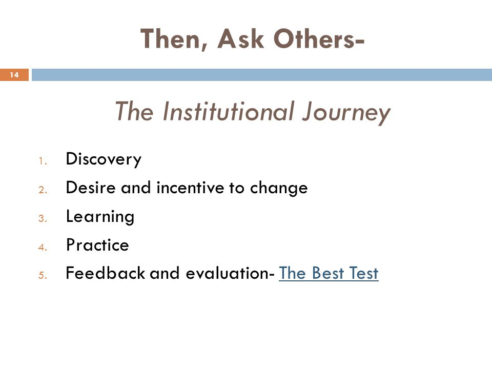 Then, Ask Others- The Institutional Journey 14 1. Discovery 2. Desire and incentive to change 3. Learning 4. Practice 5. Feedback and evaluation- The