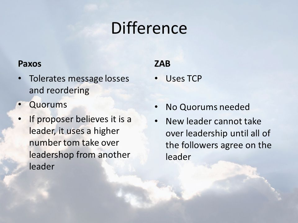 Difference Paxos Tolerates message losses and reordering Quorums If proposer believes it is a leader, it uses a higher number tom take over leadershop