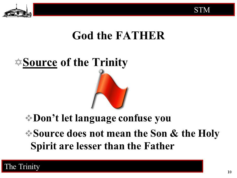 10 STM RCIA The Trinity God the FATHER Source of the Trinity Dont let language confuse you Source does not mean the Son & the Holy Spirit are lesser t