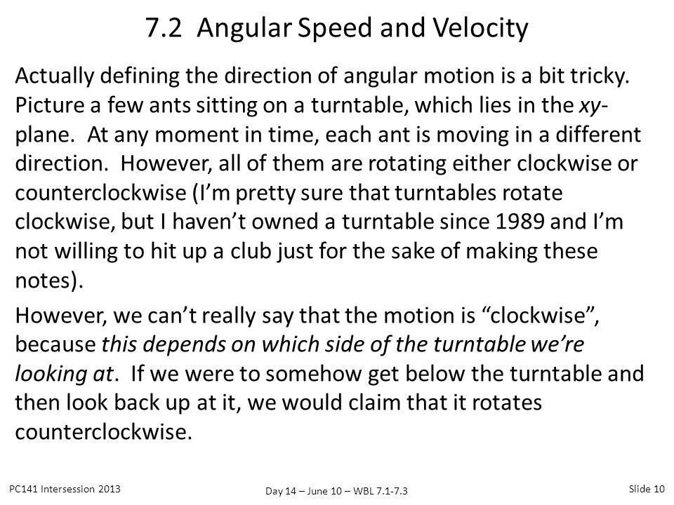 Day 14 – June 10 – WBL 7.1-7.3 Actually defining the direction of angular motion is a bit tricky. Picture a few ants sitting on a turntable, which lie