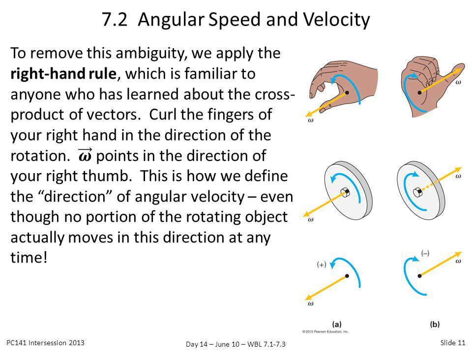 Day 14 – June 10 – WBL 7.1-7.3 7.2 Angular Speed and Velocity PC141 Intersession 2013Slide 11