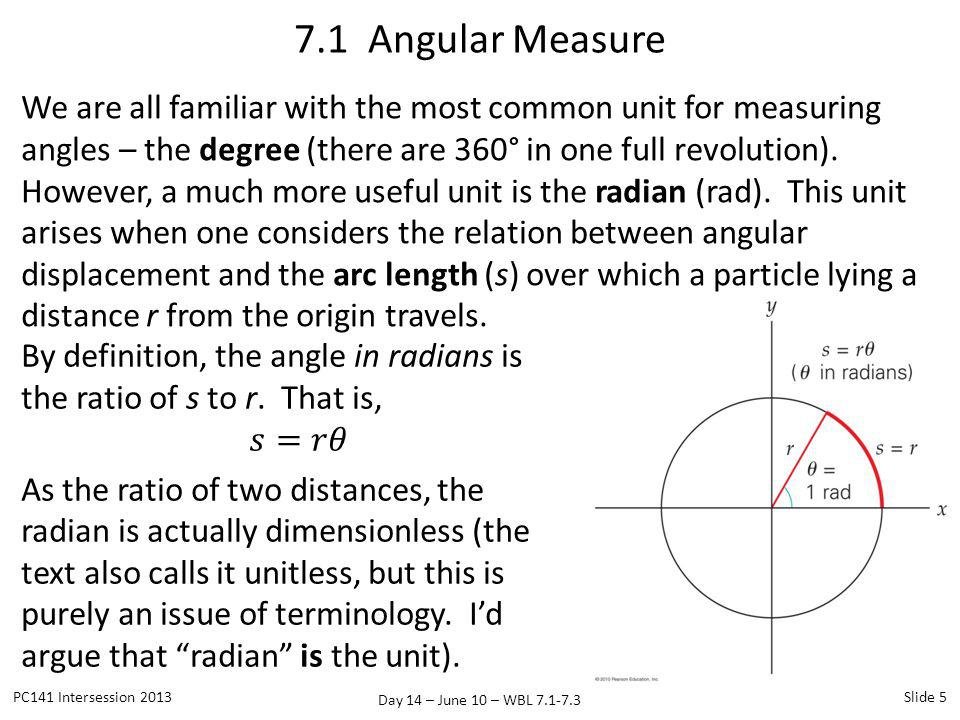 Day 14 – June 10 – WBL 7.1-7.3 We are all familiar with the most common unit for measuring angles – the degree (there are 360° in one full revolution)