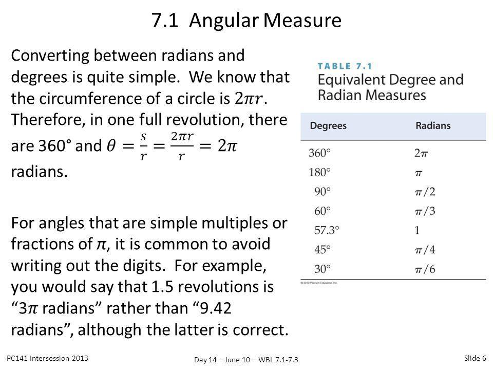 Day 14 – June 10 – WBL 7.1-7.3 7.1 Angular Measure PC141 Intersession 2013Slide 6