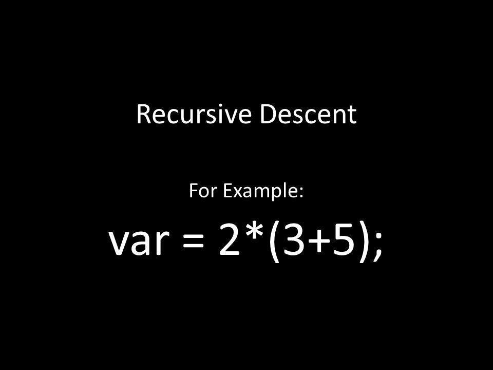 Recursive Descent For Example: var = 2*(3+5);