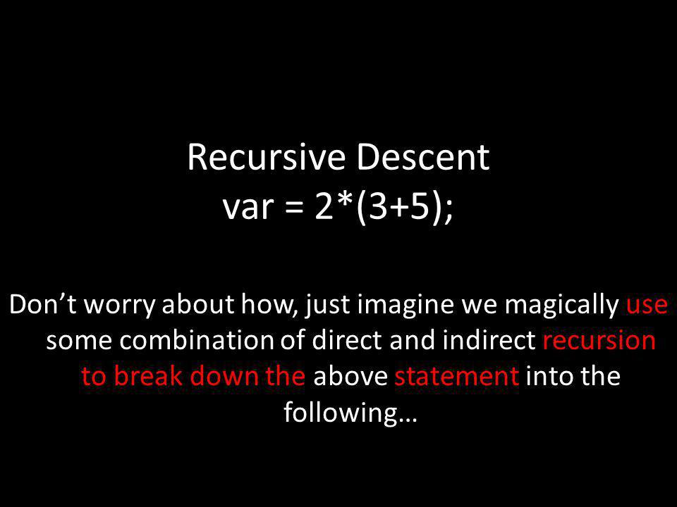 Recursive Descent var = 2*(3+5); Dont worry about how, just imagine we magically use some combination of direct and indirect recursion to break down t