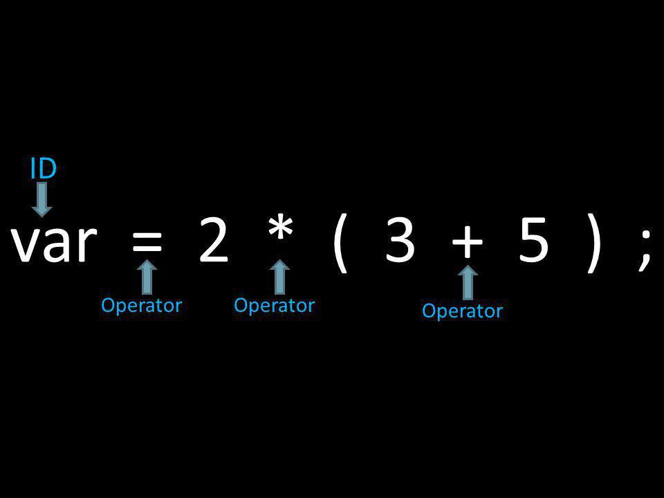 var = 2 * ( 3 + 5 ) ; ID Operator
