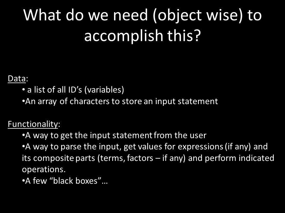 Data: a list of all IDs (variables) An array of characters to store an input statement Functionality: A way to get the input statement from the user A