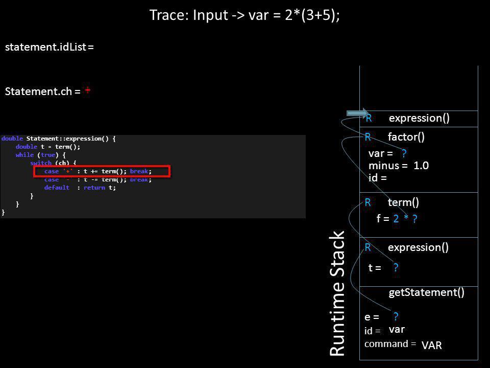 + statement.idList = Statement.ch = ? R expression() Trace: Input -> var = 2*(3+5); Runtime Stack e = id = command = getStatement() var VAR ? t = R te
