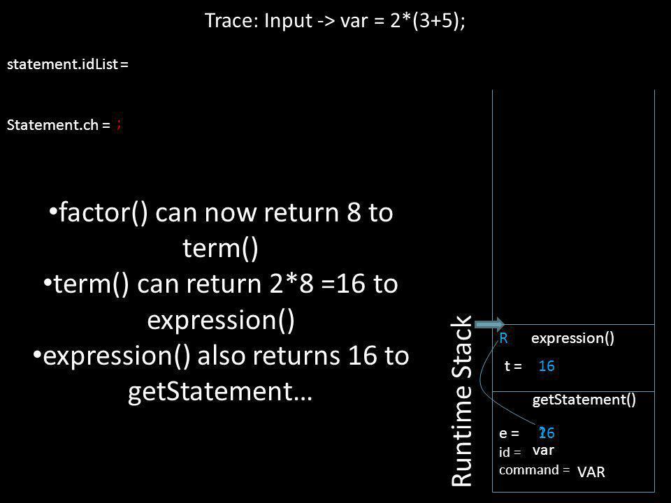 16 statement.idList = Statement.ch = R expression() Trace: Input -> var = 2*(3+5); Runtime Stack e = id = command = getStatement() var VAR ? t =16 fac