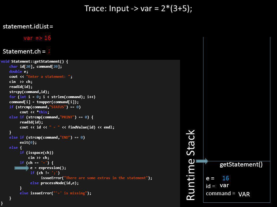 16 statement.idList = Statement.ch = Trace: Input -> var = 2*(3+5); Runtime Stack e = id = command = getStatement() var VAR ; var => 16