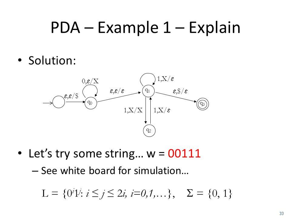 PDA – Example 1 – Explain Solution: Lets try some string… w = 00111 – See white board for simulation… q0q0, /$ 0, /X, / q1q1 q2q2,$/ 1,X/ 1,X/X 1,X/ q