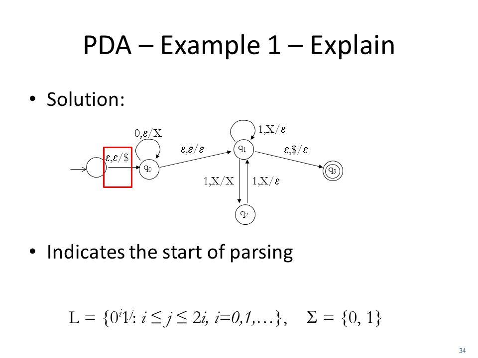 PDA – Example 1 – Explain Solution: Indicates the start of parsing q0q0, /$ 0, /X, / q1q1 q2q2,$/ 1,X/ 1,X/X 1,X/ q3q3 L = {0 i 1 j : i j 2i, i=0,1,…}