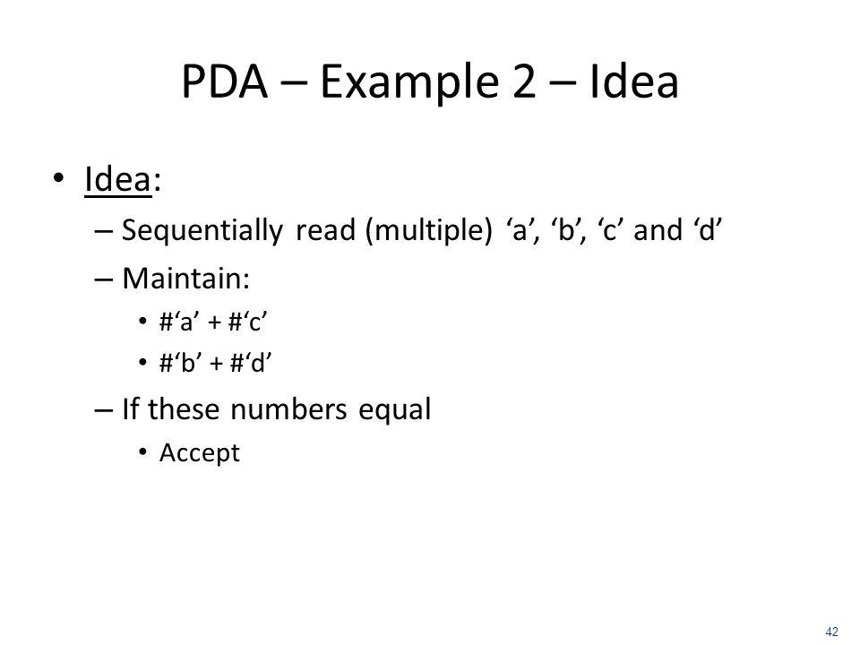 PDA – Example 2 – Idea Idea: – Sequentially read (multiple) a, b, c and d – Maintain: #a + #c #b + #d – If these numbers equal Accept 42