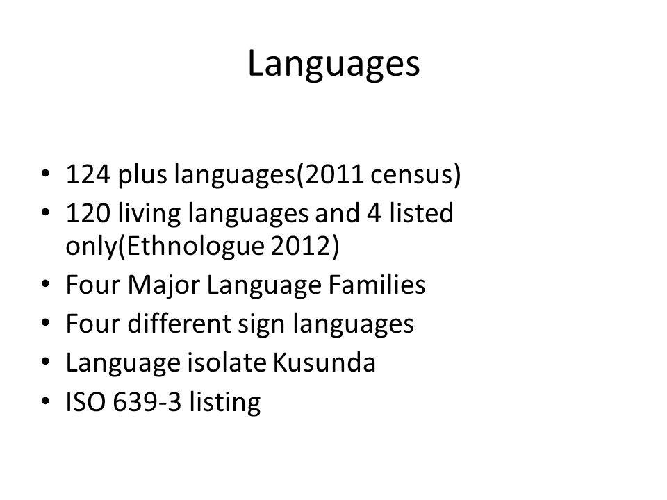 Languages 124 plus languages(2011 census) 120 living languages and 4 listed only(Ethnologue 2012) Four Major Language Families Four different sign lan