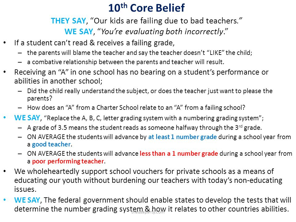 10 th Core Belief THEY SAY, Our kids are failing due to bad teachers. WE SAY, Youre evaluating both incorrectly. If a student cant read & receives a f