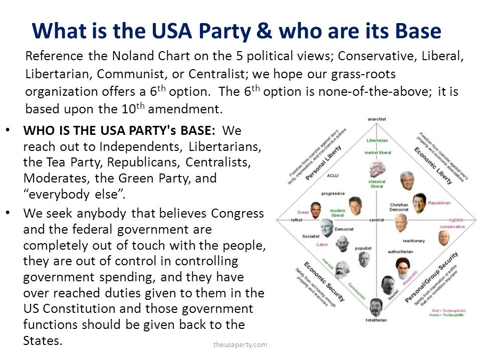 What is the USA Party & who are its Base WHO IS THE USA PARTY s BASE: We reach out to Independents, Libertarians, the Tea Party, Republicans, Centralists, Moderates, the Green Party, and everybody else.