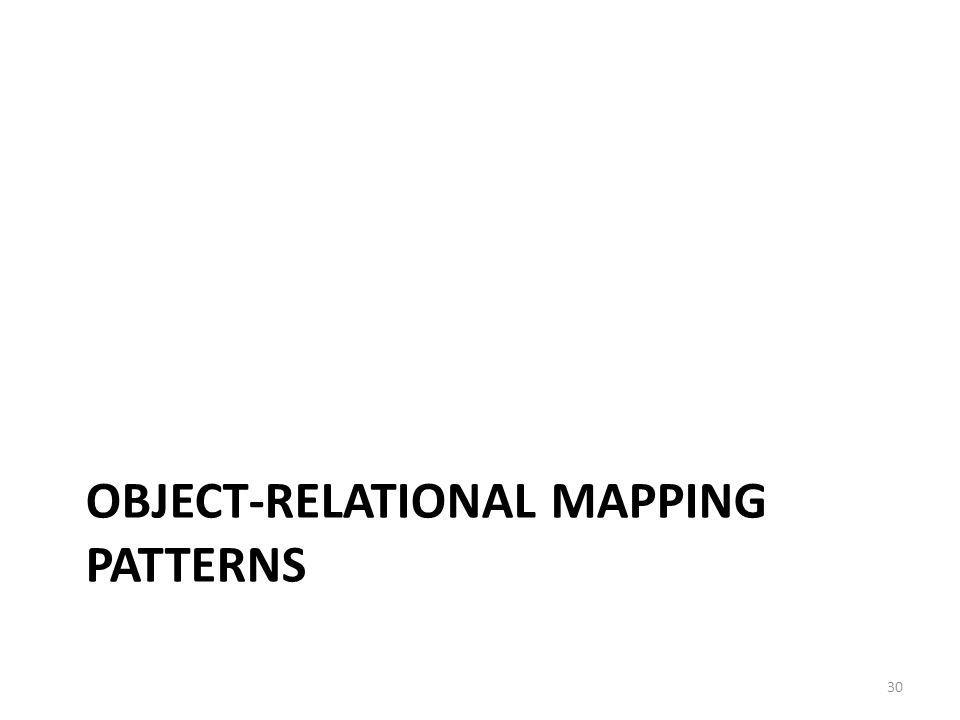 OBJECT-RELATIONAL MAPPING PATTERNS 30