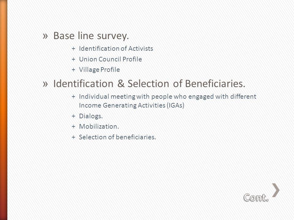 » Base line survey.