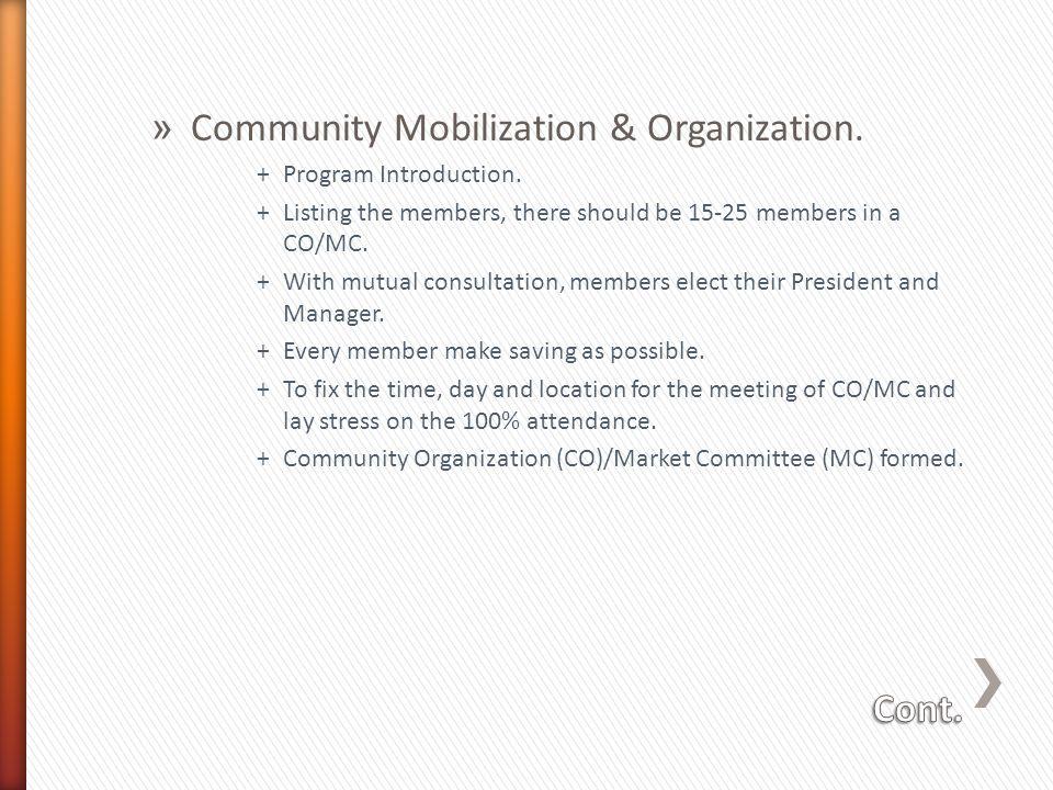 » Community Mobilization & Organization. +Program Introduction.