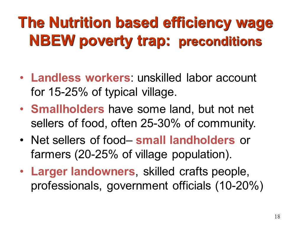 The Nutrition based efficiency wage NBEW poverty trap: preconditions Landless workers: unskilled labor account for 15-25% of typical village. Smallhol
