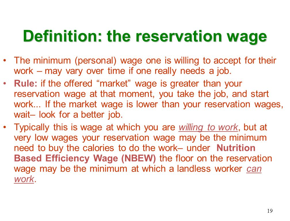 Definition: the reservation wage The minimum (personal) wage one is willing to accept for their work – may vary over time if one really needs a job.