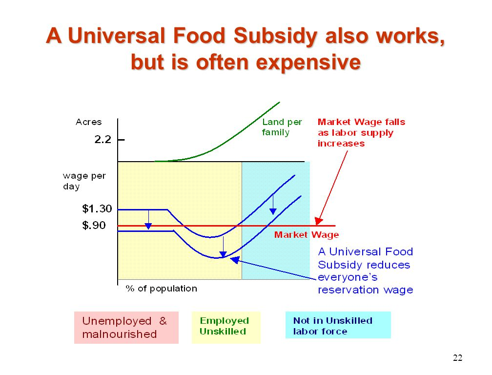 A Universal Food Subsidy also works, but is often expensive 22