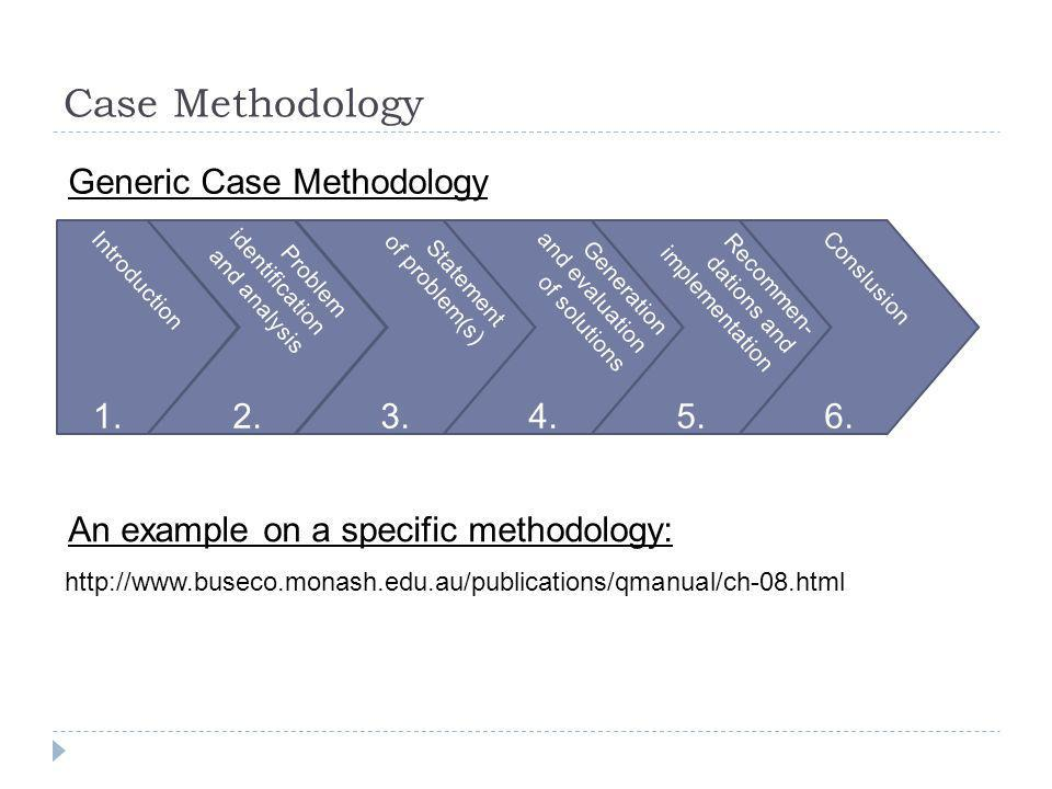 Case Methodology http://www.buseco.monash.edu.au/publications/qmanual/ch-08.html Generic Case Methodology Introduction Problem identification and anal