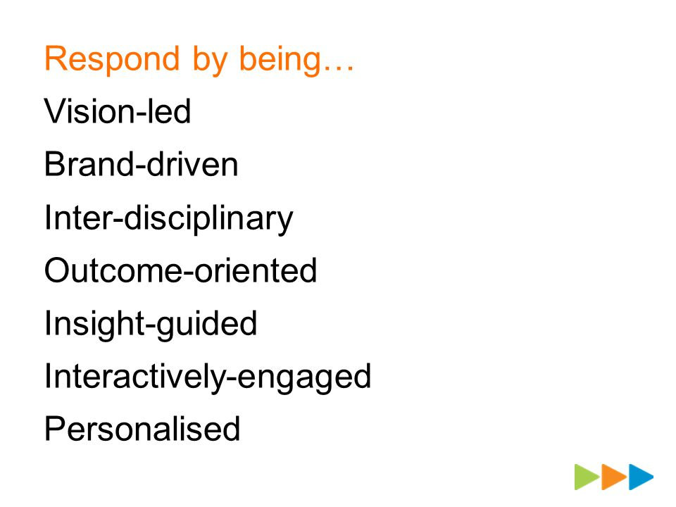 Respond by being… Vision-led Brand-driven Inter-disciplinary Outcome-oriented Insight-guided Interactively-engaged Personalised