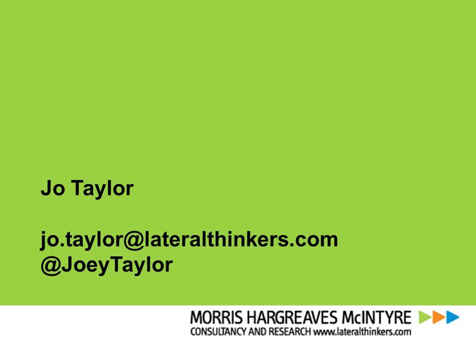 Jo Taylor jo.taylor@lateralthinkers.com @JoeyTaylor