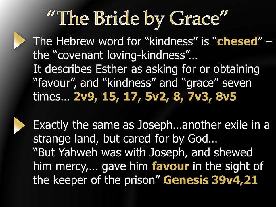 The Hebrew word for kindness is chesed – the covenant loving-kindness… It describes Esther as asking for or obtaining favour, and kindness and grace s